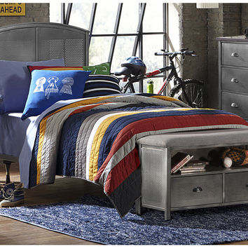 1265btrpb-urban-quarters-panel-bed-set-with-footboard-bench-twin-frame-included - Free Shipping!
