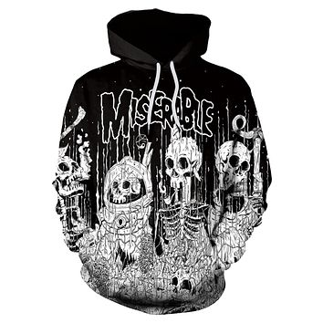 3D Digital Cartoon Print Women Loose Hooded Hoodie