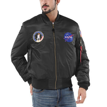 Freelee 2016 MA-1 NASA Navy flying jacket,Nylon Thick Winter letterman varsity american college bomber flight jacket for men