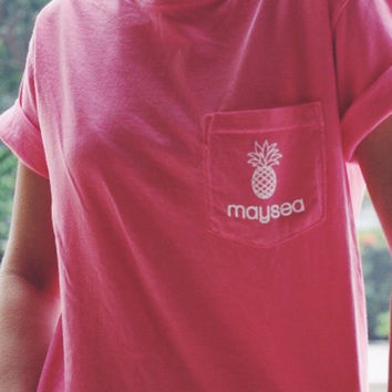 Maysea Coral Punch Pocket Tee