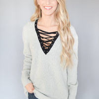 Earl Gray Lace Up Sweater