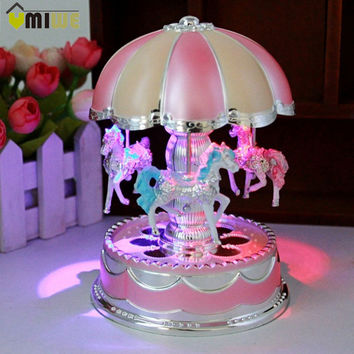 Romantic Merry-Go-Round LED Colorful Lights Carousel Horse Electronic Music Boxes With Light Gift For Kids Friend (Random Color)