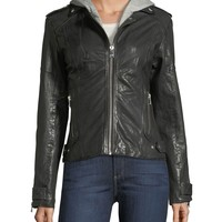 LaMarque Leather Hooded Moto Jacket