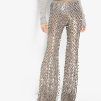 Metallic-Embroidered Stretch-Tulle Trousers | Michael Kors