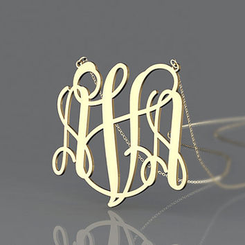 Letter initial necklace--personalized monogram necklace--1.5 inch monogram elegant necklace