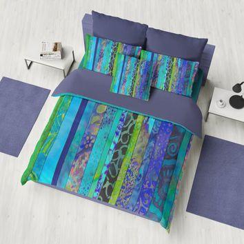 Boho Blues Duvet Cover or comforter  -  Striped blue, green, purple bedding, beautiful cool tones
