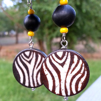 Bone Dangle Drop Earrings - Painted Bone Discs with Wood Beads - Animal Print Bone Earrings - Boho Earrings - Ethnic Tribal Earrings