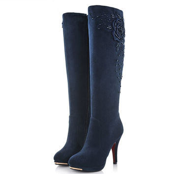 Fashion high heels suede leather knee high boots women autumn winter snow motorc
