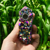 Rainbow Aura Quartz Cluster Pipe
