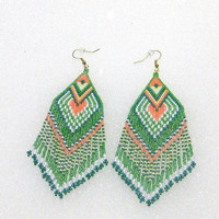 Southwestern Style Extra Large Hand Beaded Dangle Earrings