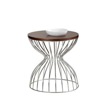 MIRA SMALL STAINLESS STEEL BASE WITH AMERICAN WALNUT VENEER TOP BROWN END TABLE