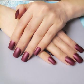 Candy Color Matte False Nails Chocolate Brown Acrylic Fake Nail DIY Nail Art Full Cover Tips Faux Ongle 24Pcs K