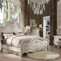 Acme 21760Q 5 pc versailles collection bone white finish wood carved accents headboard queen bedroom set
