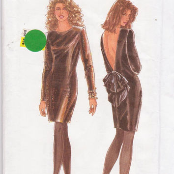 Pattern for backless special occasion cocktail dress with long sleeves misses size 8 10 12 14 16 18 20 Simplicity 7495 UNCUT