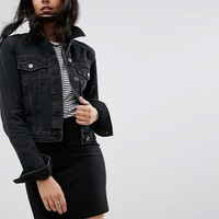ASOS DESIGN Tall denim shrunken jacket in washed black at asos.com