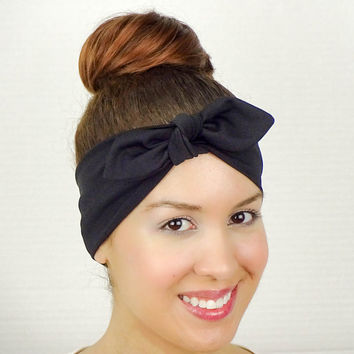 Turban Bow Headband Black Turban Black Headband Big Bow Headband Black Hair Bow Stretchy Headband Stretch HeadWrap Black Yoga Headband