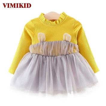 VIMIKID Baby Girl Dresses 2017 Cute Ears Yarn Fold Collar Long Sleeve Stitching Dress for Girl Toddler Clothes Children Clothes
