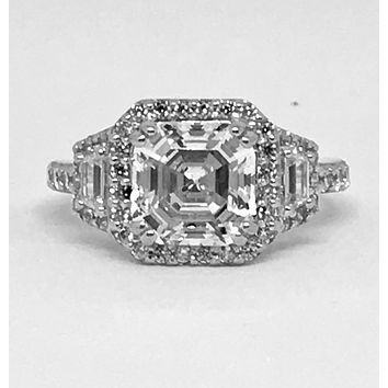 The Colette, A Perfect 3.1CT Asscher Cut Russian Lab Diamond Halo Engagement Ring
