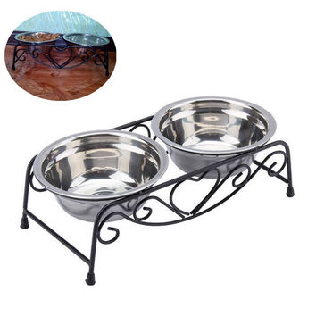 Stainless steel dog bowl with iron stand