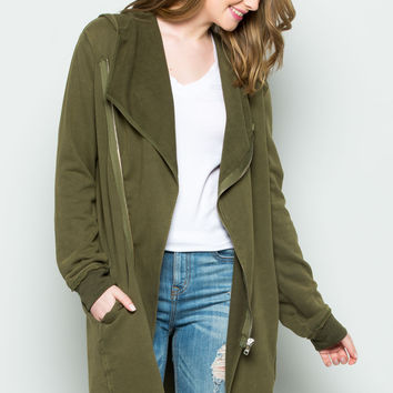 Hooded Asymmetric Zip Up Acid Wash Jacket in Military Green