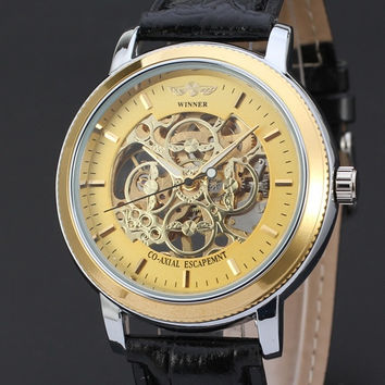 Mechanical Watch Skeleton Stainless Steel Case Male Clock Black Leather Strap Hand Wind Casual Men Wristwatches (Color: Gold)