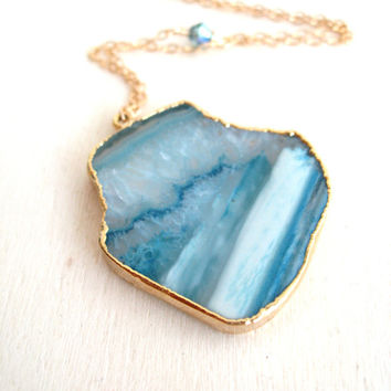 Aqua blue Agate Slice Necklace statement jewelry Long boho Gift for her Vitrine