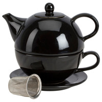 Tea for One w/ Infuser Set, Black, Tea Cups & Saucers