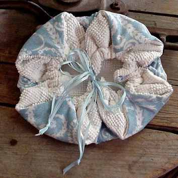 Chenille Drawstring Bag Pouch Shabby Wedding Wristlet Small Purse Hosiery Storage Gift Bag itsyourcountry