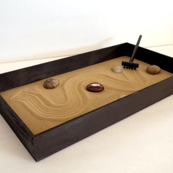 Zen Garden - Zen Box Brown Home Decor Coffee Table Accessories - Calming Office Gifts - Lotus Flower Gifts for Authors Office Gadgets