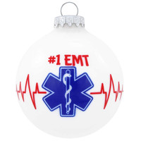 #1 EMT Glass Ornament