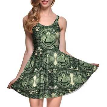 New Sexy Women dress Cartoon Adventure Time Dress BRO BALL REVERSIBLE SKATER DRESS