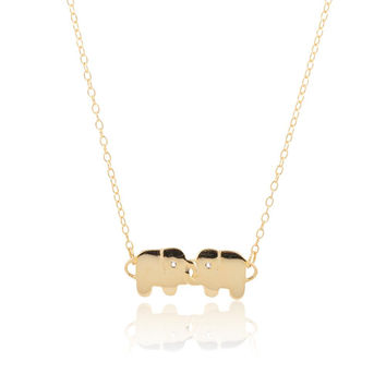 14k Gold Plated Sterling Silver Elephants with Interlocking Trunks CZ Necklace
