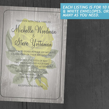 Yellow Rustic Floral Wedding Invitations | Invites | Invitation Cards
