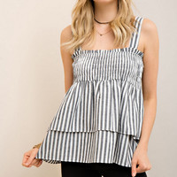 Pinstriped Double Layered Smocked Tank