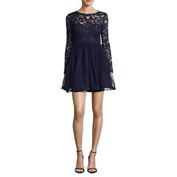 My Michelle Long Sleeve Lace Party Dress-Juniors - JCPenney