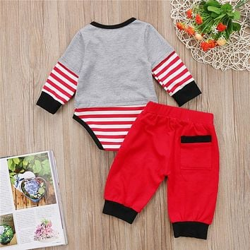 Cute Christmas Clothes Baby Boy Cotton Clothing Set Newborn Boy Stripe Top Romper Pants New Outfits Baby Boys Clothes Set