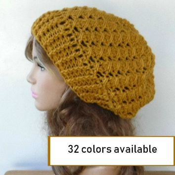 Choose color Handmade Textured Slouchy Beanie, soft woman slouchy hat