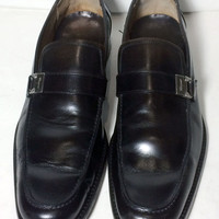 SALVATORE FERRAGAMO Black Leather Loafer Men's Shoes Size 10