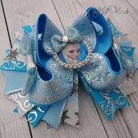 Frozen rhinestone  Bow  - Christmas white snowflake - Elsa  Birthday - Over the Top Bow - Elsa or Anna party - Girls Hair Bows