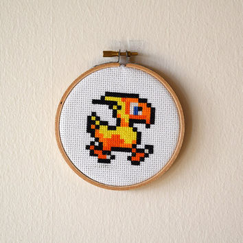 Framed Chocobo Cross Stitch | Final Fantasy Framed Needlepoint | Finished 4x4 Video Game Cross Stitch | 4 inch Wooden Embroidery Hoop