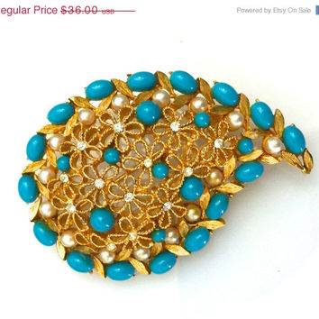 Marvella Paisley Brooch, Faux Turquoise and Pearls, Open Work, Brushed Gold Tone, Floral Pattern, 1970s