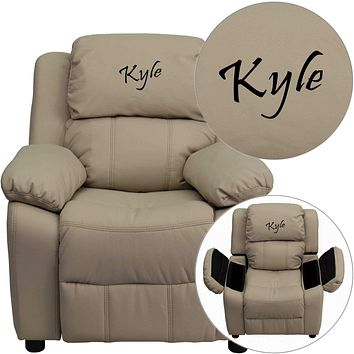 Custom Designed Kids Recliner with Storage Arms and Headrest With Your Personalized Name