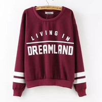 Fashion Wine Print Letter Stripe Long Sleeve Loose Sweatshirt