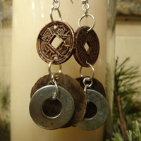 Upcycled, Rustic Washer Earrings, Silver and Copper, Handmade, Unique Gift Idea