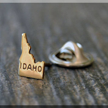Brass State of Idaho Tie Tac, Lapel Pin, Idaho Brooch, Gift for Him, Gift Under 10 Dollars, Tiny State Tie Tack, Idaho State Pride Lapel Pin