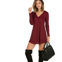 Burgundy Ribbed Flowy Tunic