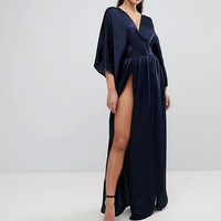 Flounce London Wrap Front Kimono Maxi Dress with Double Thigh Splits and Bodysuit at asos.com