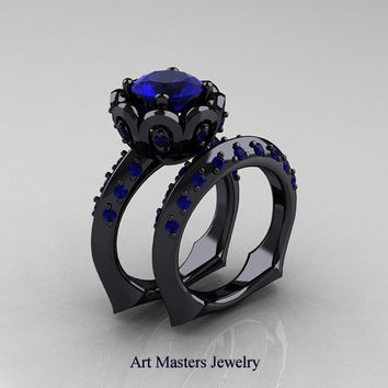 Classic 14K Black Gold 3.0 Ct Blue Sapphire Greek Galatea Wedding Ring Wedding Band Bridal Set AR114S-14KBGBS