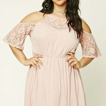 Plus Size Open Shoulder Dress