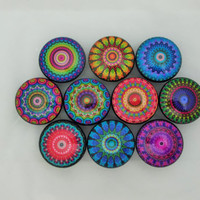 Set of 10 Bright Mandala Cabinet Knobs
